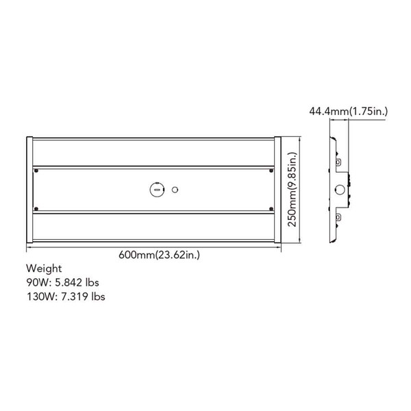 GLT MLH-12L-UV-40K-D10 LED High bay Side View 1