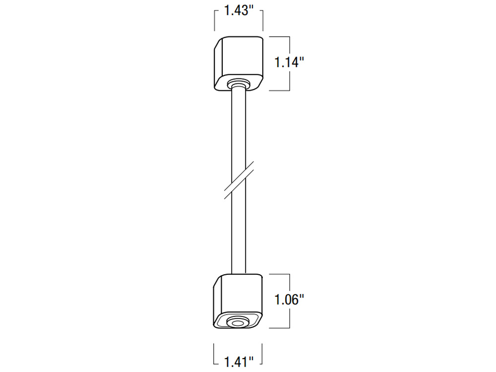 White Nora Lighting NT-322 18 Track Extension Rod